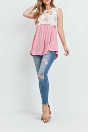 Riah Fashion Floral-Stripes-Contrast-Pompom-Detail-Top - Other