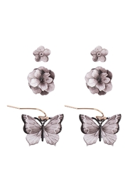 Riah Fashion Flower & Butterfly Spring 3 Set Earrings - Front cropped
