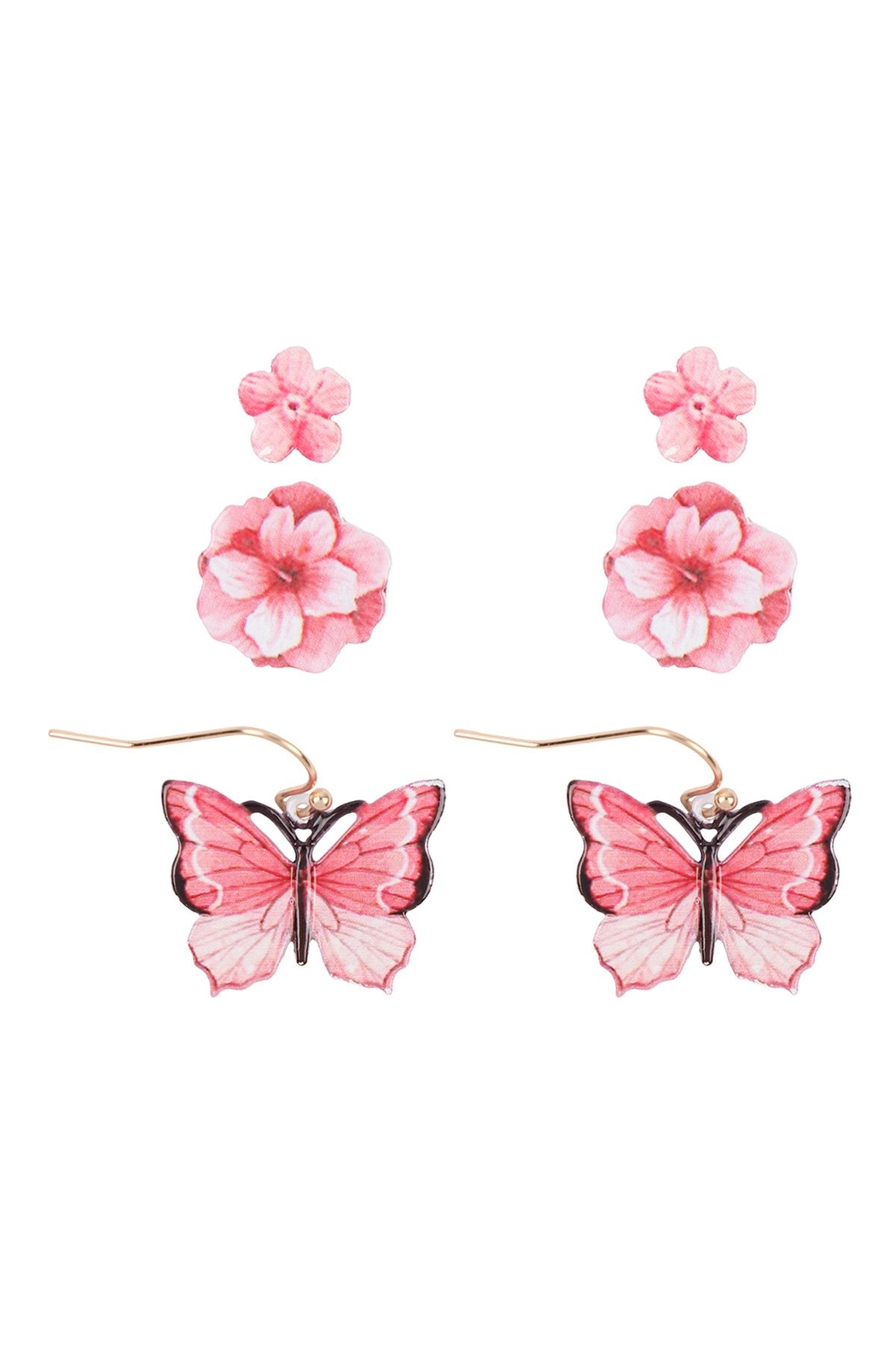 Riah Fashion Flower & Butterfly Spring 3 Set Earrings - Side Cropped Image