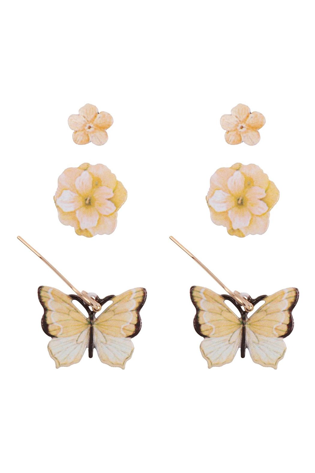 Riah Fashion Flower & Butterfly Spring 3 Set Earrings - Front Cropped Image