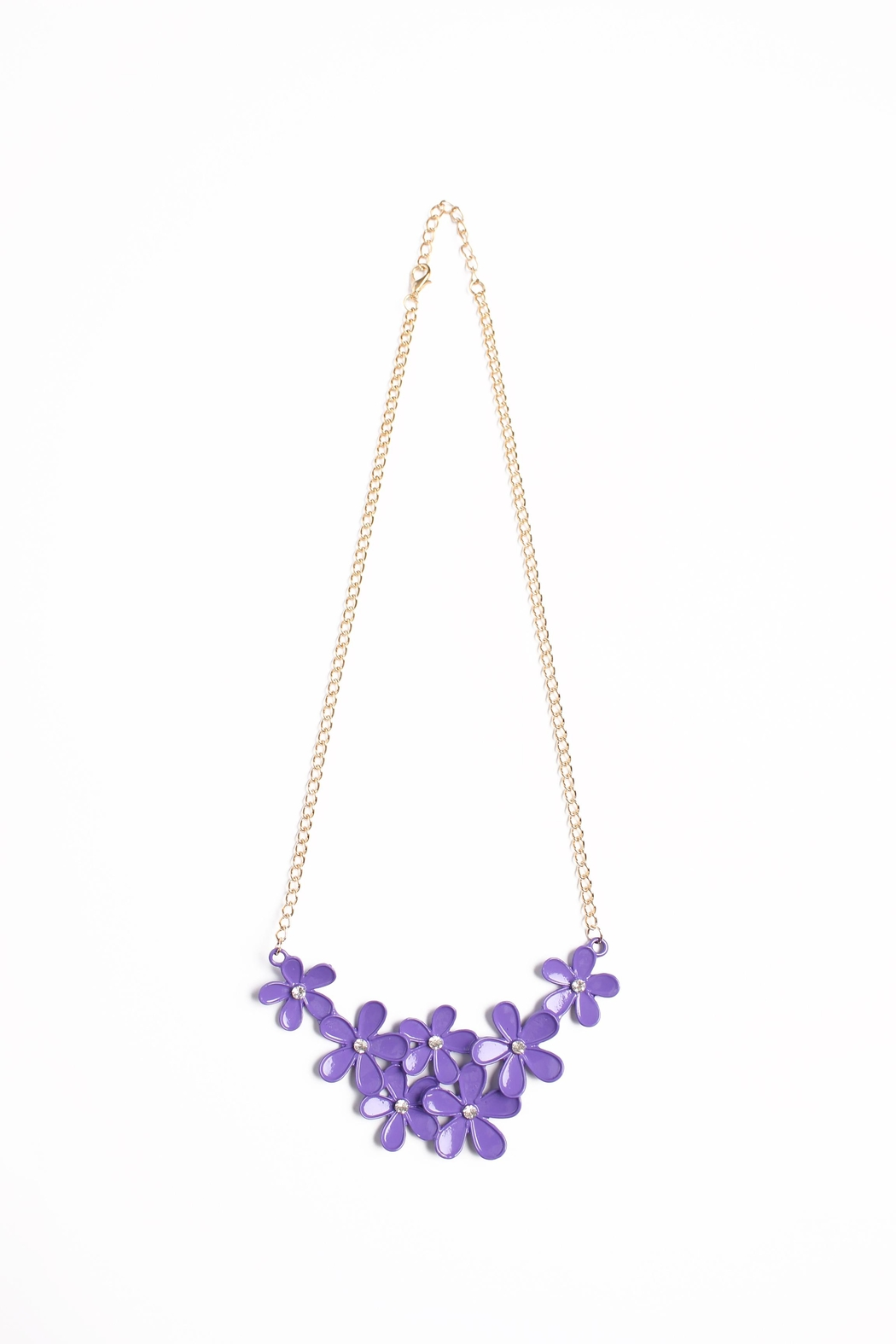 Riah Fashion Flower Chain Necklace - Front Cropped Image