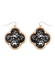 Riah Fashion Flower Filigree-Design Earrings - Product Mini Image