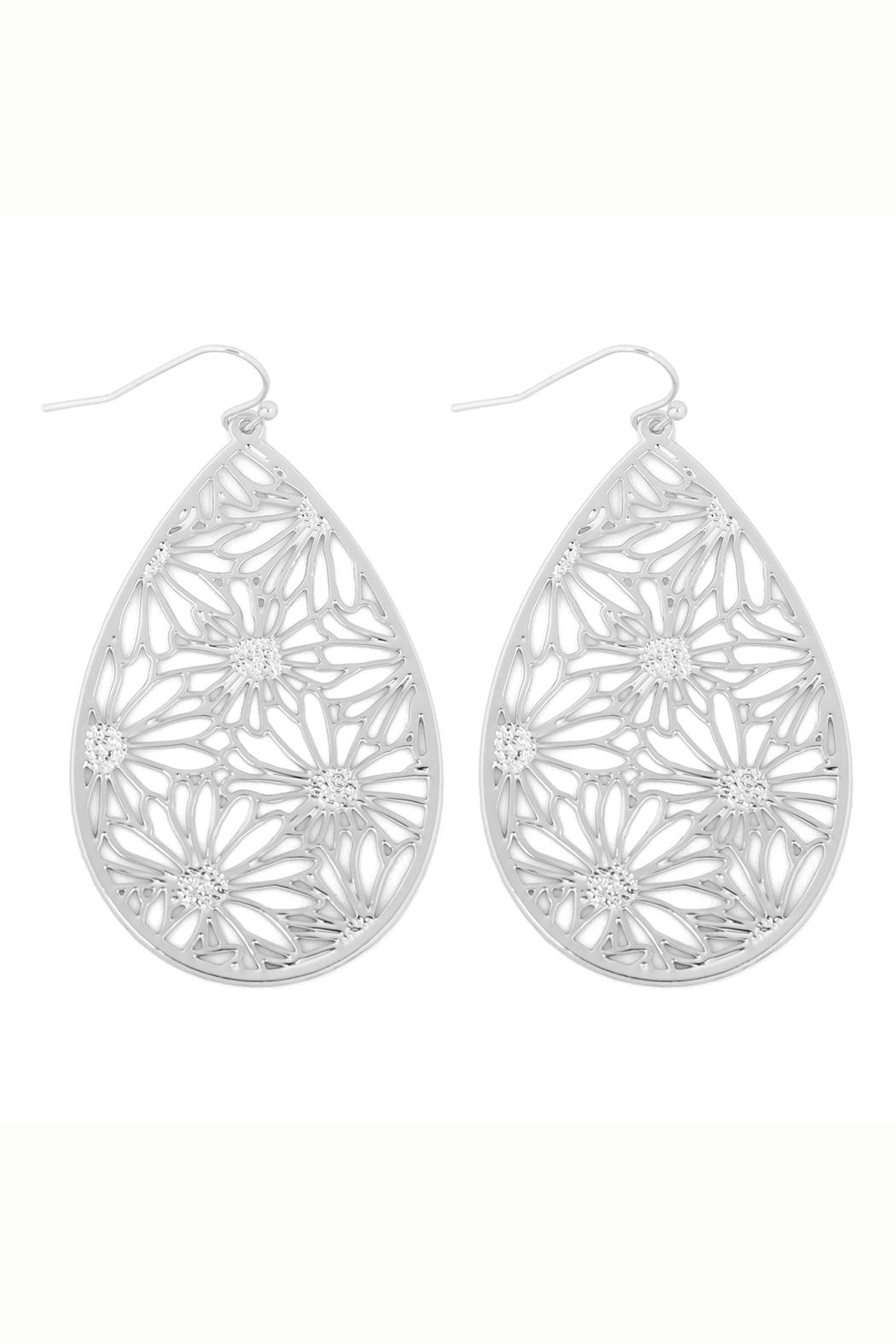Riah Fashion Flower-Filigree-Earrings - Front Cropped Image