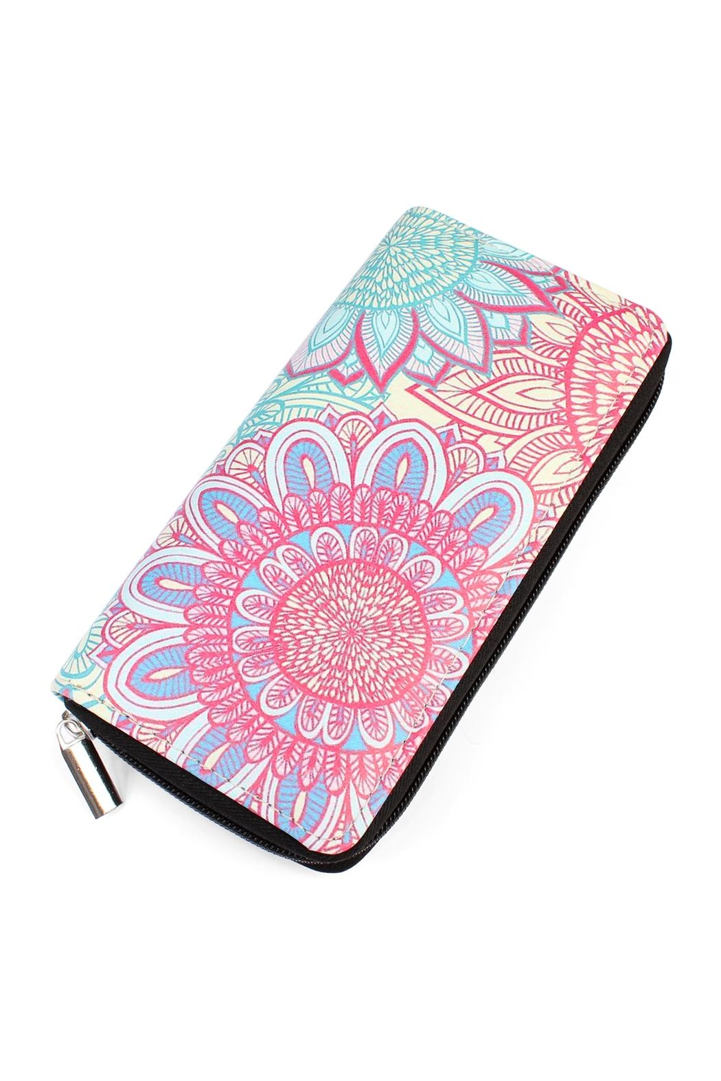 Riah Fashion Flower-Ornament Zipper Wallet - Main Image