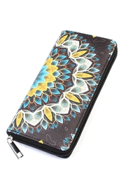 Riah Fashion Flower-Print Black Zipper-Wallet - Product Mini Image