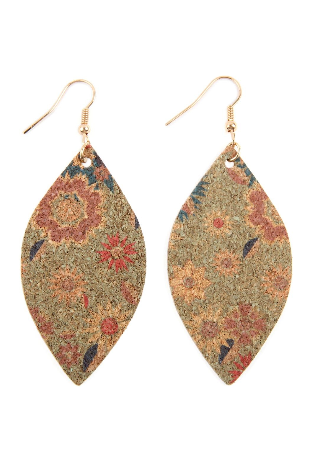 Riah Fashion Flower Print Cork Marquise_earrings - Front Cropped Image