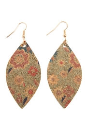 Riah Fashion Flower Print Cork Marquise_earrings - Front cropped