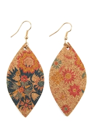 Riah Fashion Flower Print Cork Marquise_earrings - Product Mini Image