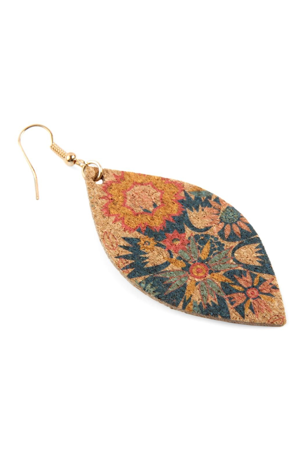 Riah Fashion Flower Print Cork Marquise_earrings - Front Full Image