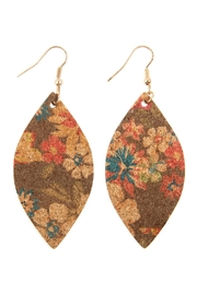 Riah Fashion Flower Print Cork-Marquise-Earrings - Product Mini Image