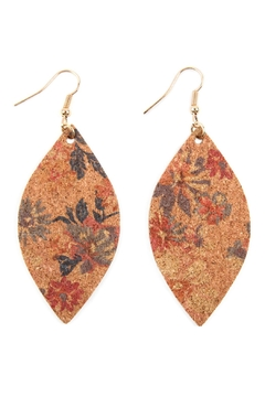 Shoptiques Product: Flower Print Cork-Marquise-Earrings