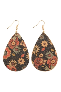 Shoptiques Product: Flower Print-Cork Teardrop-Earrings