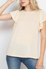 Riah Fashion Flutter-Sleeve-Solid-Hacci-Top - Product Mini Image
