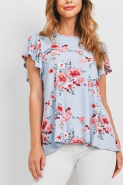 Riah Fashion Flutter-Sleeves-Floral-Print-Top - Product Mini Image