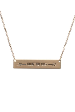 "Shoptiques Product: ""Follow-Your-Heart"" Message Bar-Necklace"