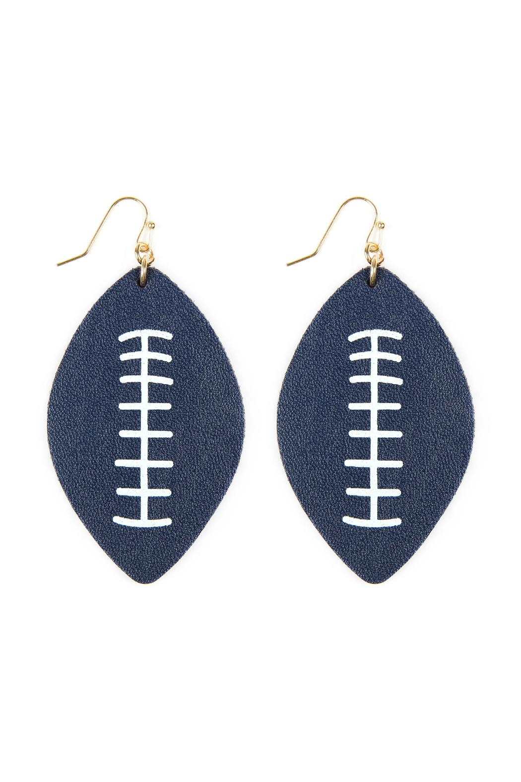 Riah Fashion Football-Sports-Leather-Earrings - Front Full Image