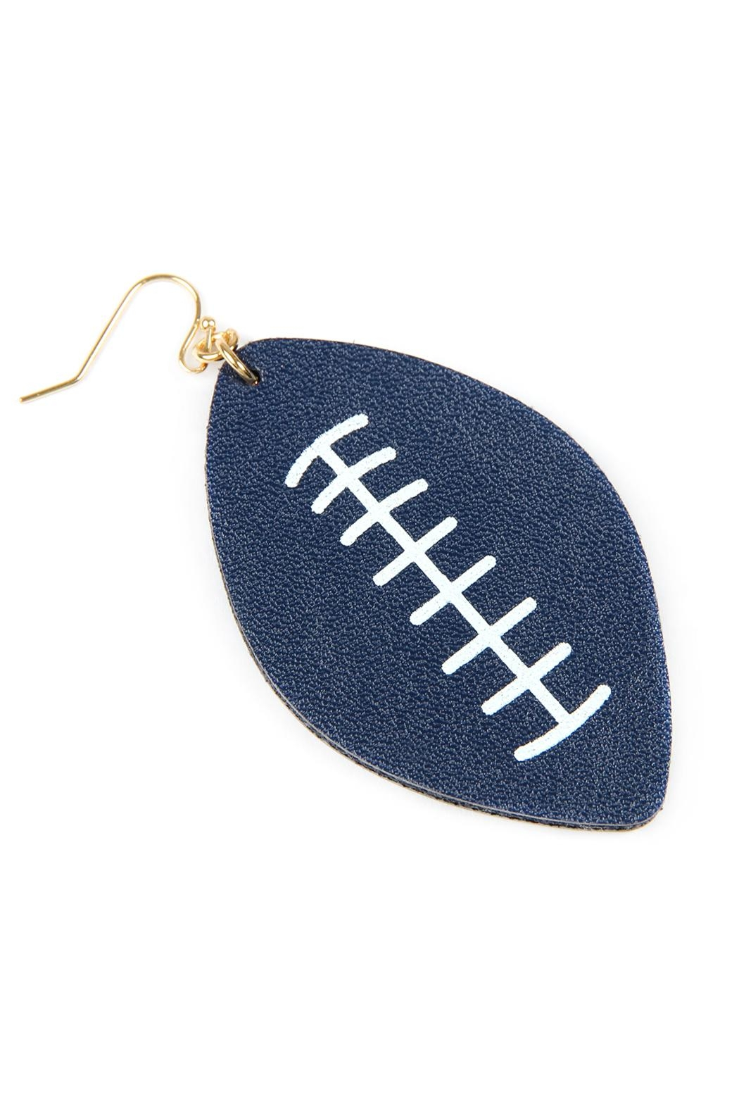 Riah Fashion Football-Sports-Leather-Earrings - Front Cropped Image