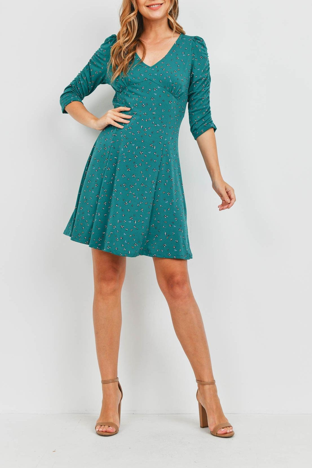 Riah Fashion Forest Green Dress - Side Cropped Image