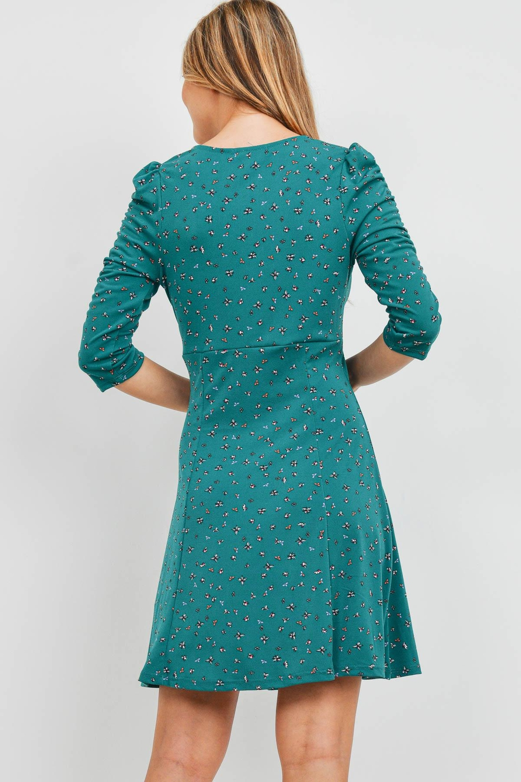 Riah Fashion Forest Green Dress - Front Full Image