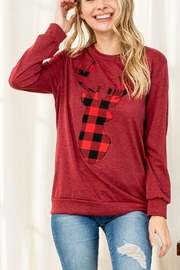 Riah Fashion French-Terry-Long-Sleeve-Plaid-Reindeer-Print-Top - Product Mini Image