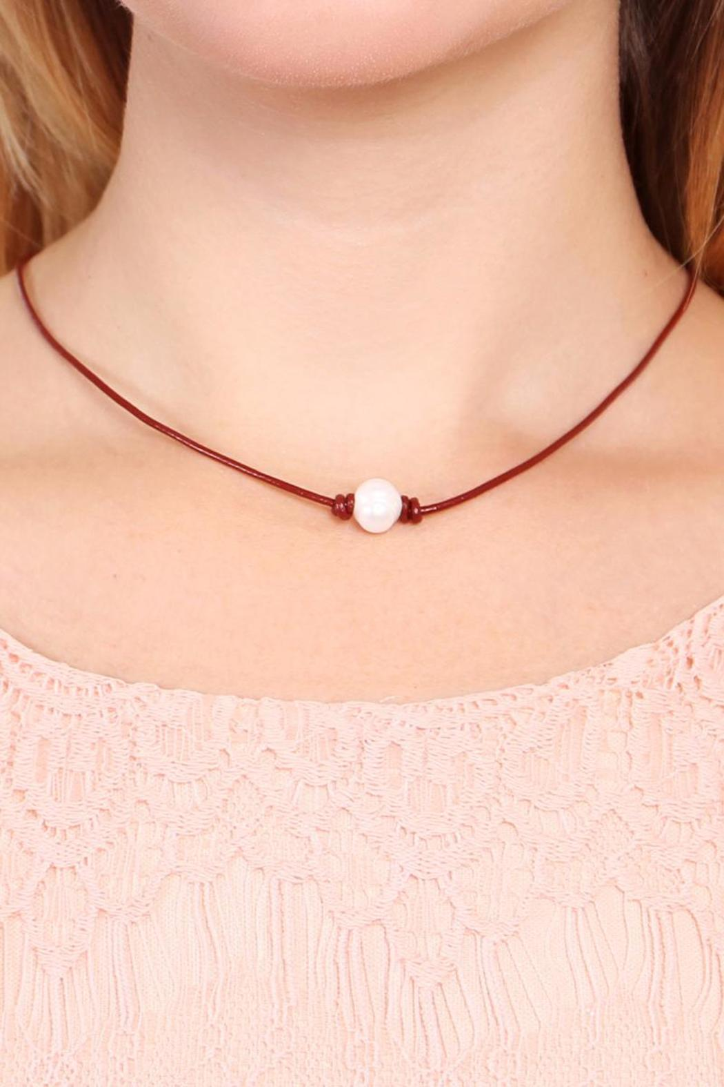 Riah Fashion Fresh Pearl Necklace - Front Full Image