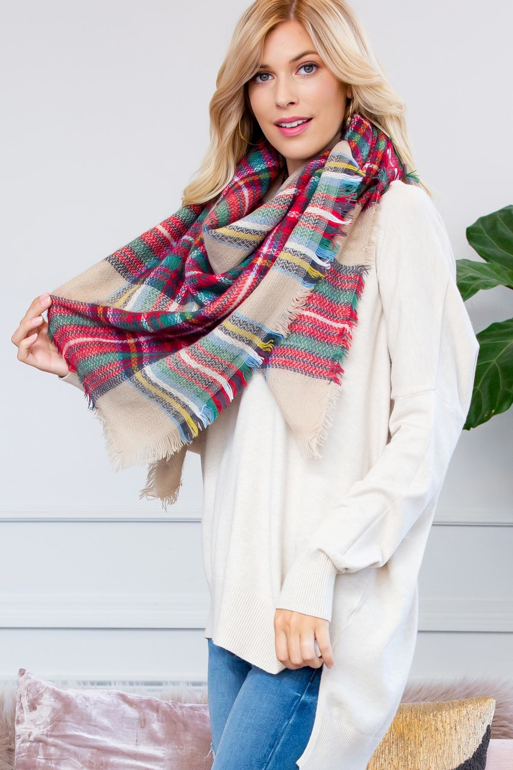 Riah Fashion Fringe Blanket Scarf - Back Cropped Image