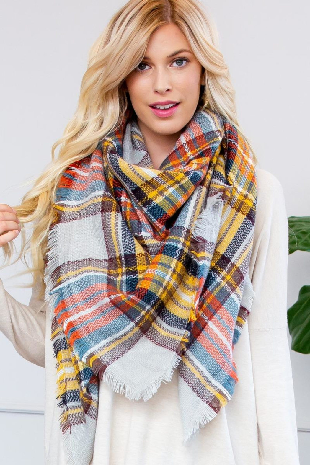 Riah Fashion Fringe Blanket Scarf - Side Cropped Image