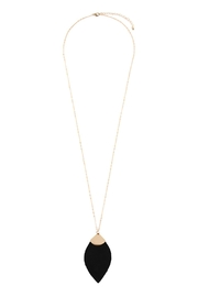Riah Fashion Fringe-Leaf-Shape Leather-Pendant-Necklace - Product Mini Image