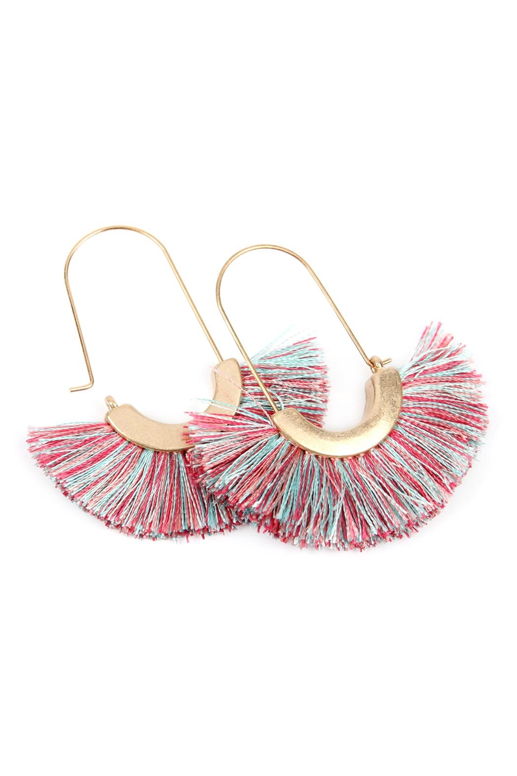 Riah Fashion Fringed Fan Shape-Earrings - Back Cropped Image