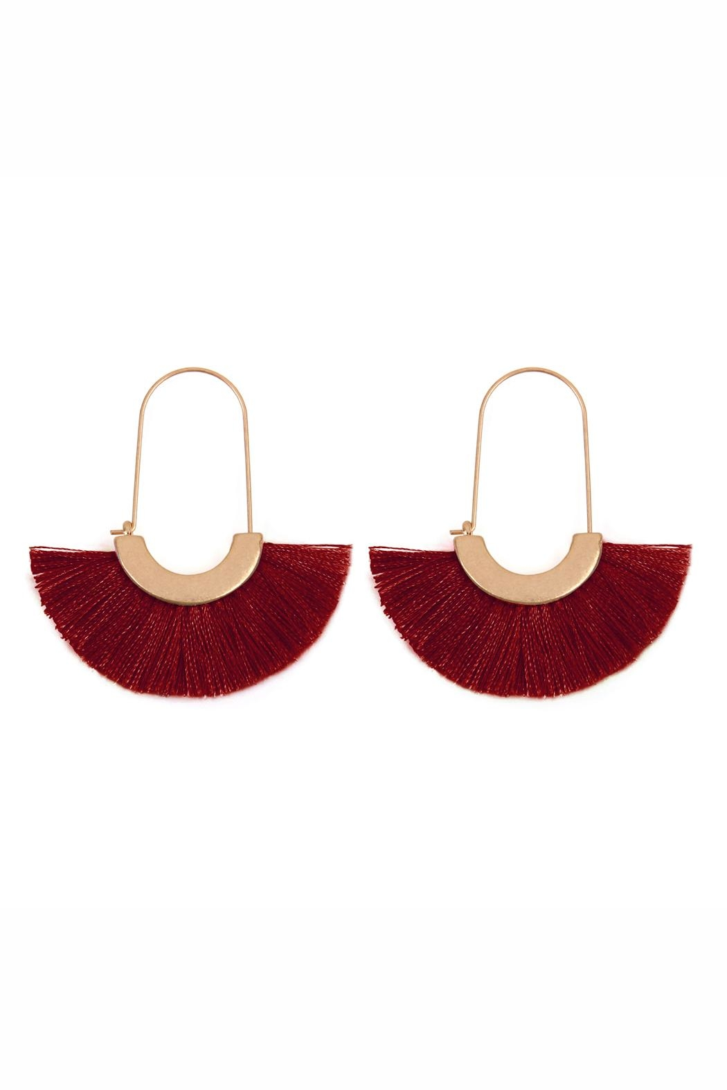 Riah Fashion Fringed Fan Shape-Earrings - Front Cropped Image