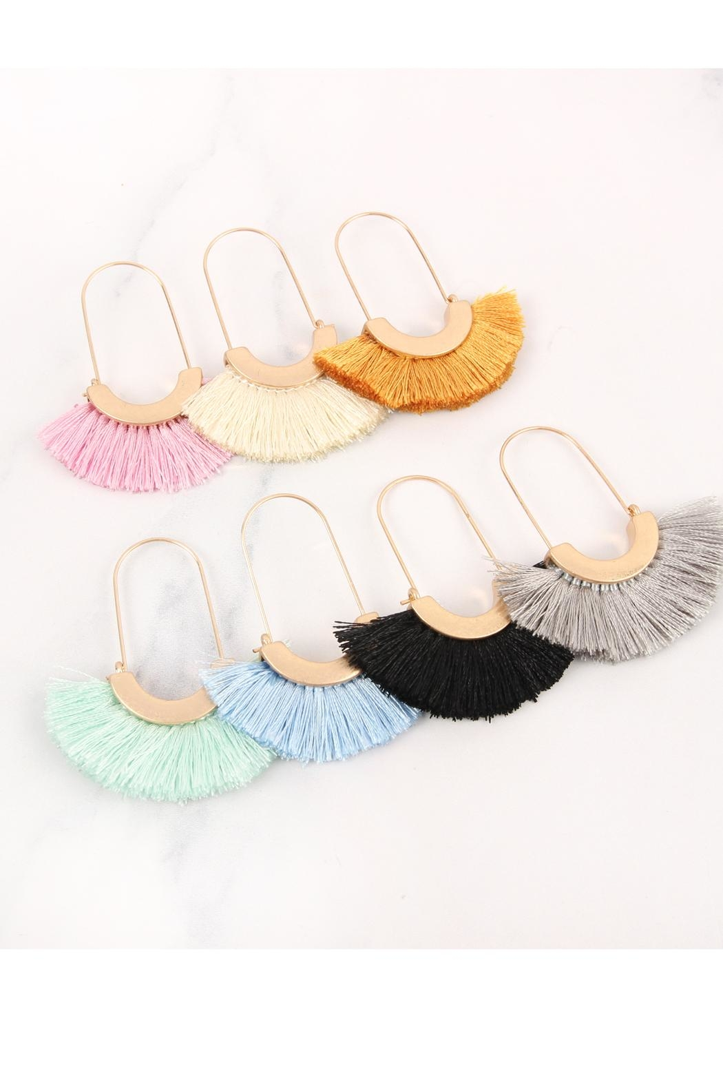 Riah Fashion Fringed Fan Shape-Earrings - Side Cropped Image