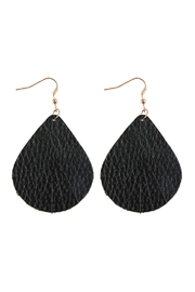 Riah Fashion Fringed Pear Shape Leather Earrings - Product Mini Image