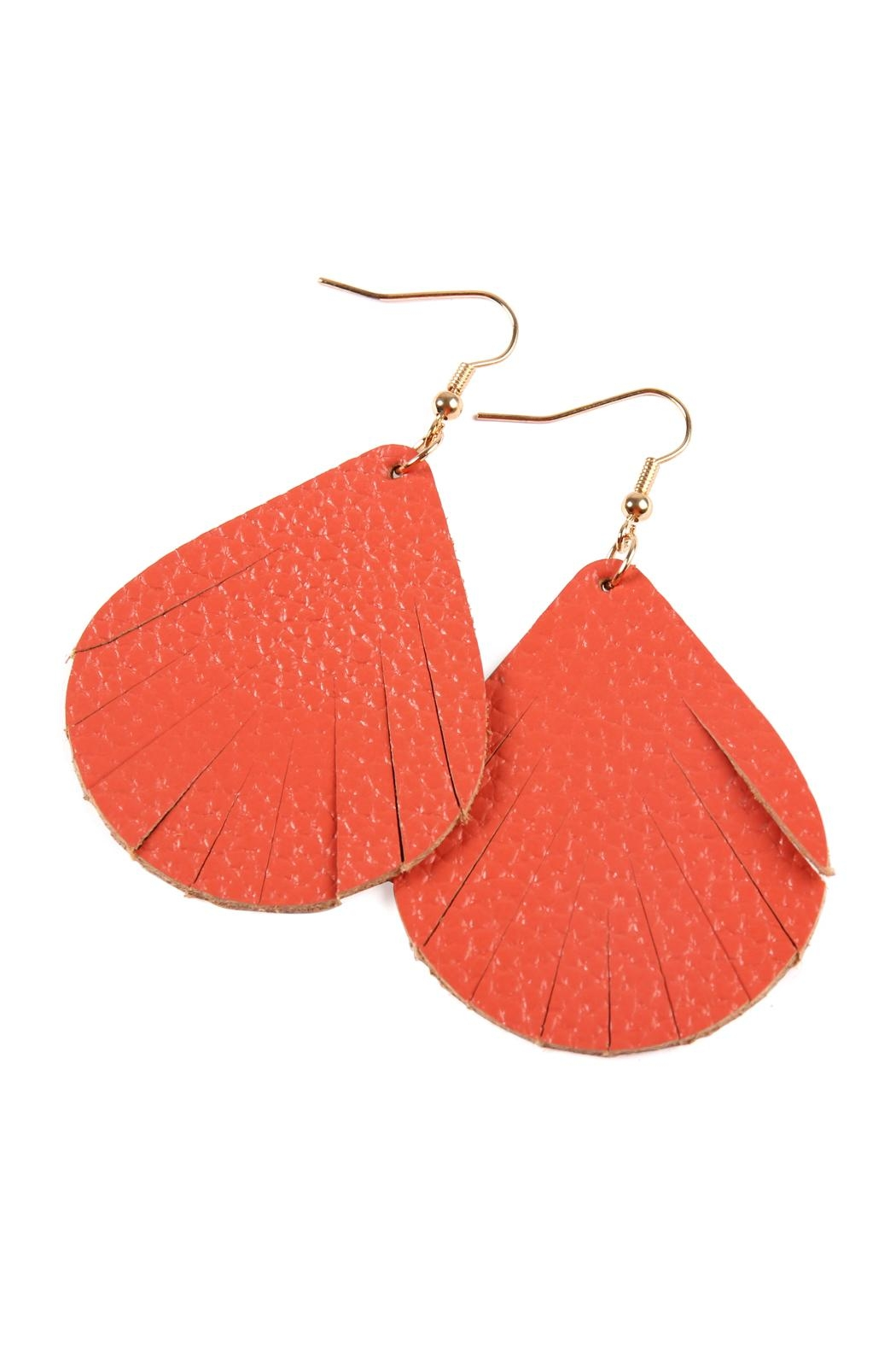 Riah Fashion Fringed Pear Shape Leather Earrings - Front Full Image