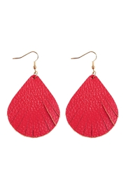 Riah Fashion Fringed Pear Shape Leather Earrings - Front cropped