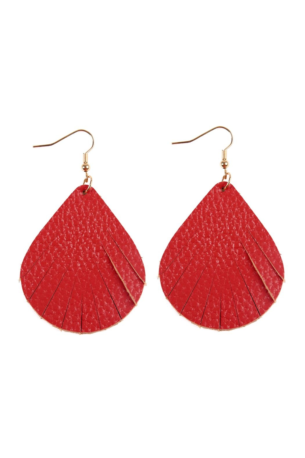 Riah Fashion Fringed Pear Shape Leather Earrings - Front Cropped Image