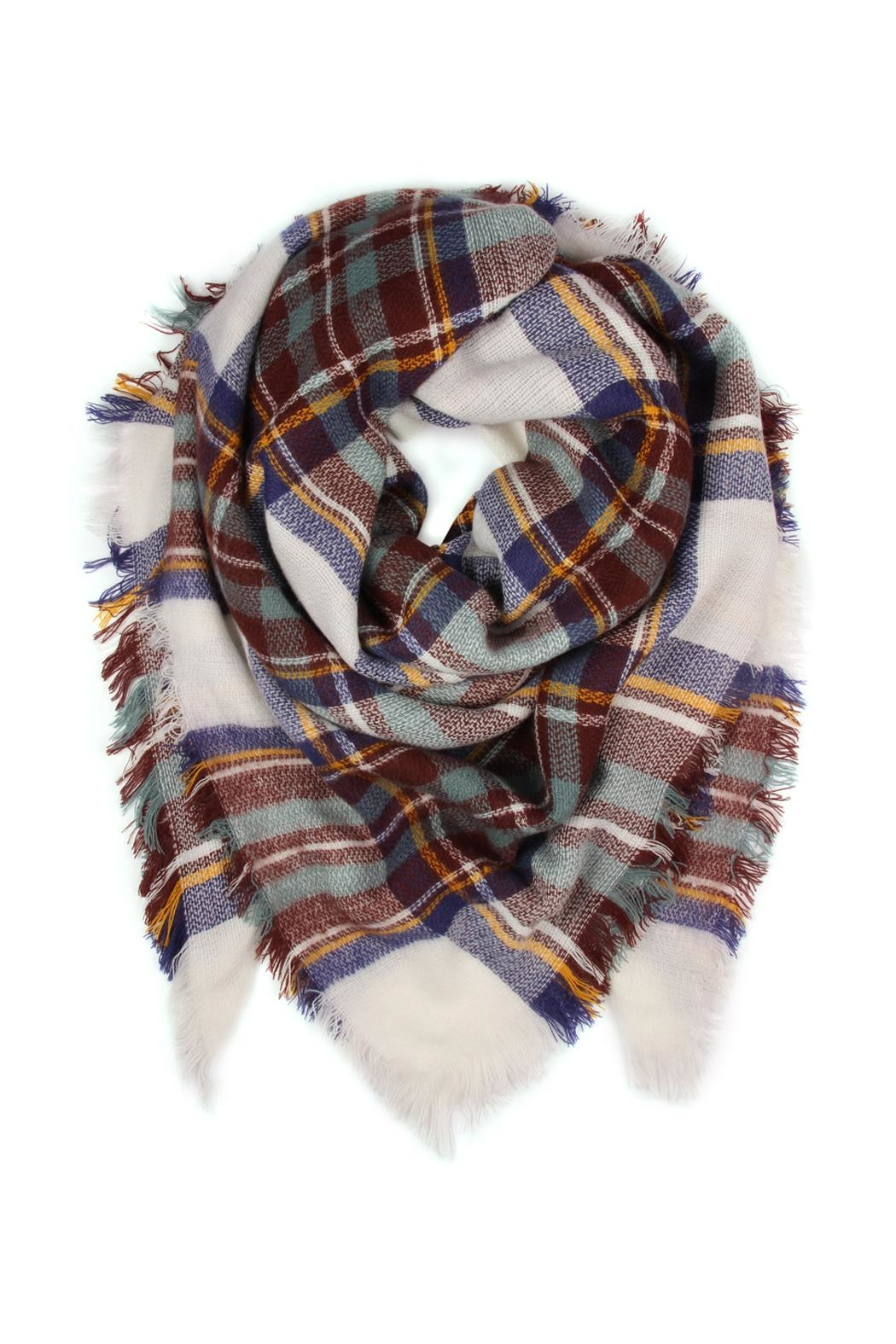 Riah Fashion Fringed Plaid Scarf - Main Image