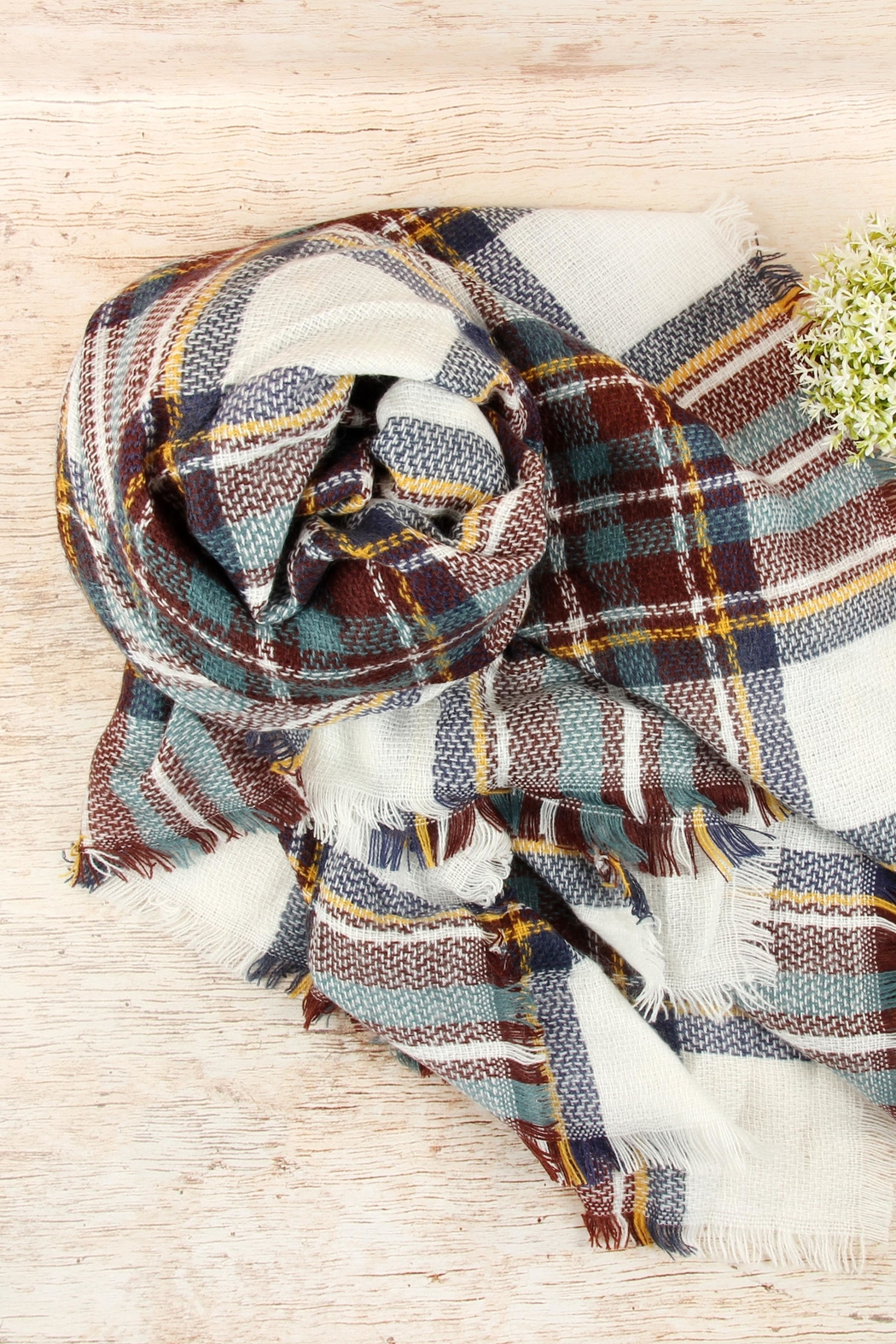 Riah Fashion Fringed Plaid Scarf - Front Full Image