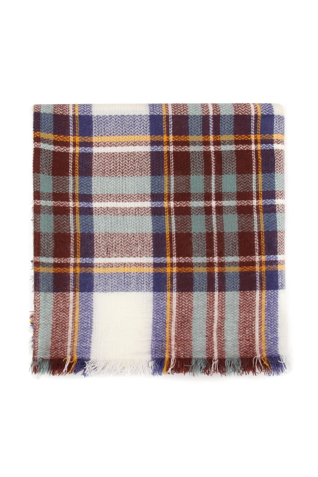 Riah Fashion Fringed Plaid Scarf - Back Cropped Image