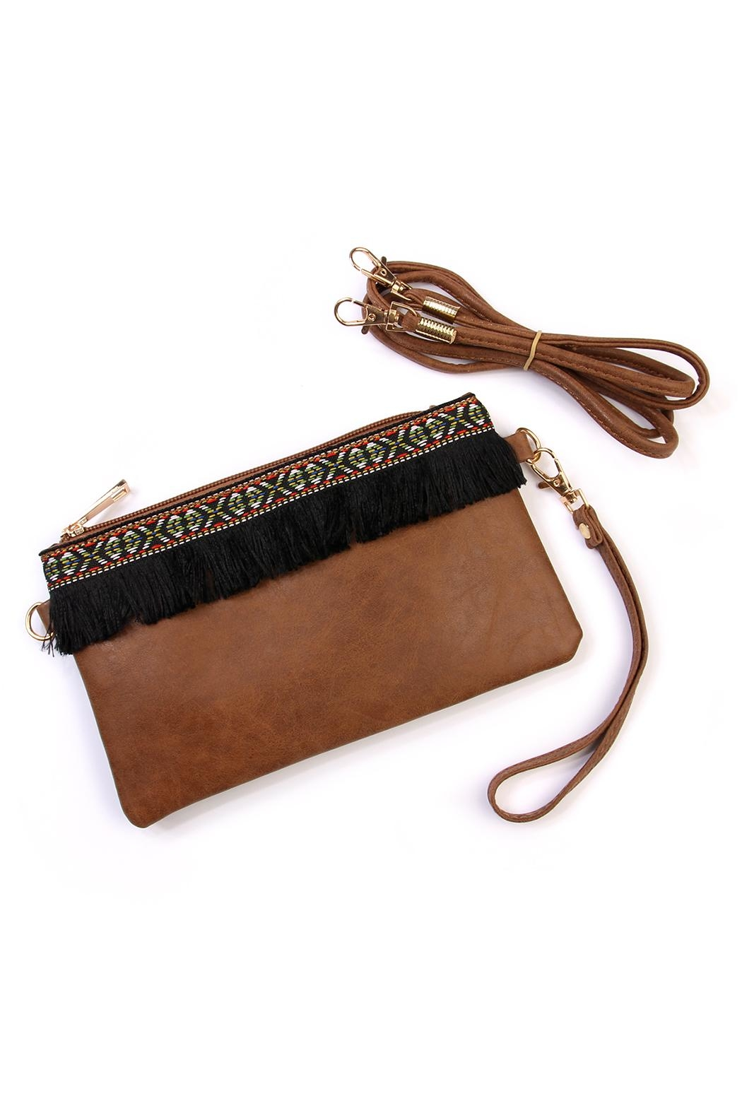 Riah Fashion Fringed Wrist Strap Bag - Main Image