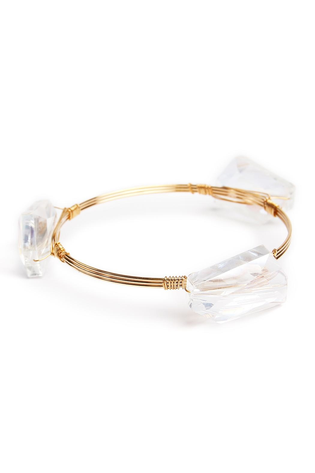 Riah Fashion Gem Stone Bangle - Front Cropped Image