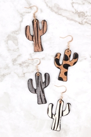 Riah Fashion Genuine Leather Animal Print Cactus Drop Hook Earrings - Front full body