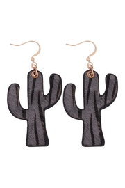 Riah Fashion Genuine Leather Animal Print Cactus Drop Hook Earrings - Front cropped