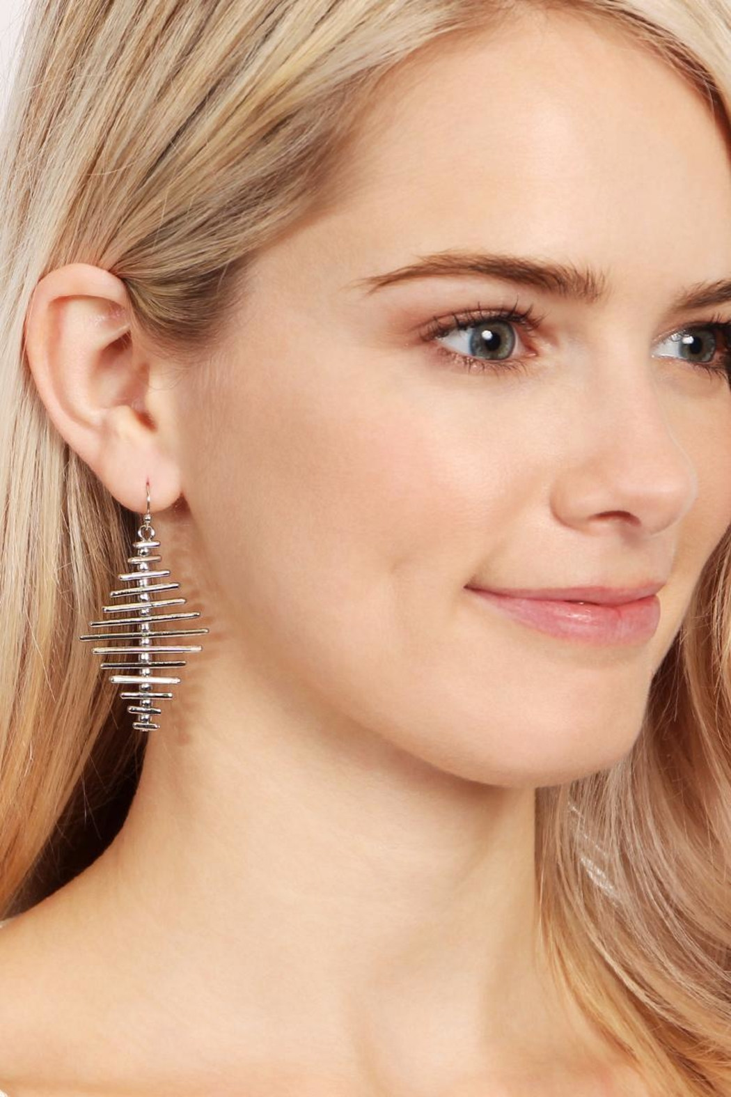 Riah Fashion Geo Bar Earrings - Front Full Image