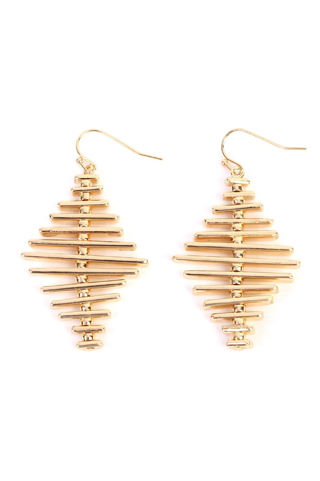 Riah Fashion Geo Bar Earrings - Front Cropped Image