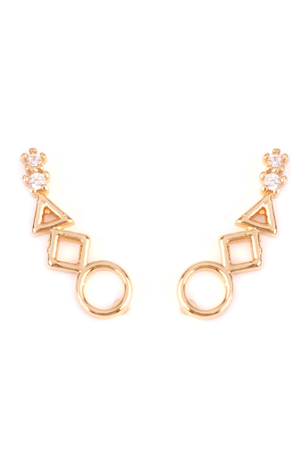 Riah Fashion Geometric Shapes Crawler Earring Front Cropped Image