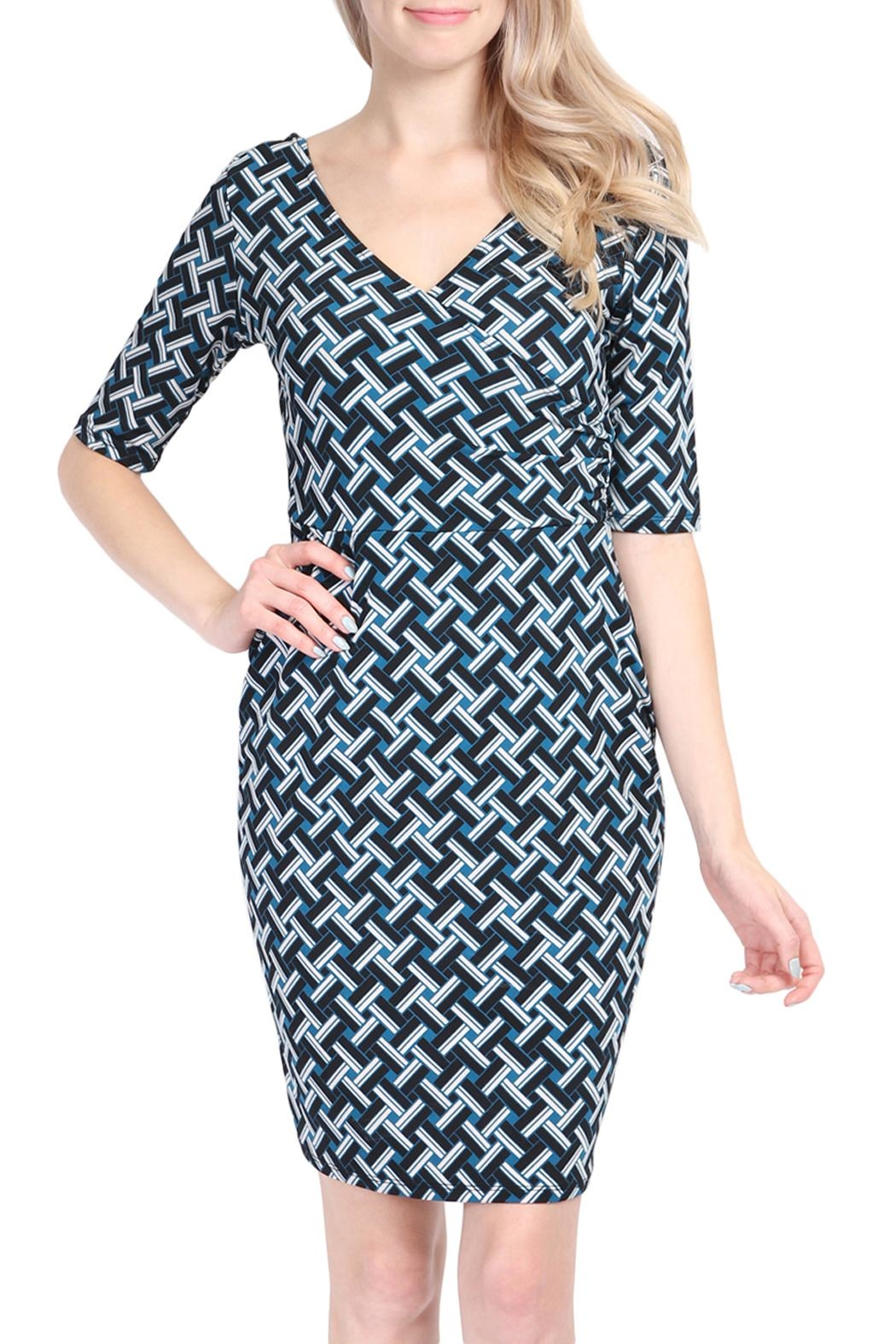 Riah Fashion Geometrical Pattern Dress - Main Image