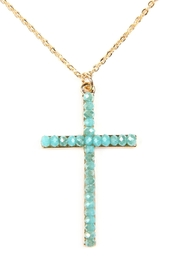 Riah Fashion Glass Beads Cross Pendant Necklace And Earrings Set - Product Mini Image