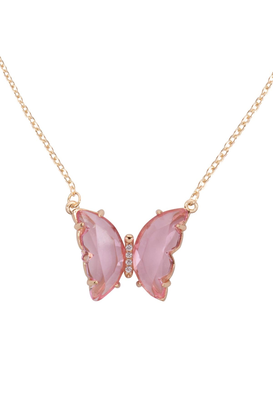 Riah Fashion Glass Butterfly Charm Necklace - Main Image
