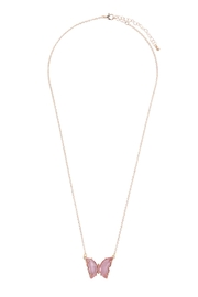 Riah Fashion Glass Butterfly Charm Necklace - Side cropped