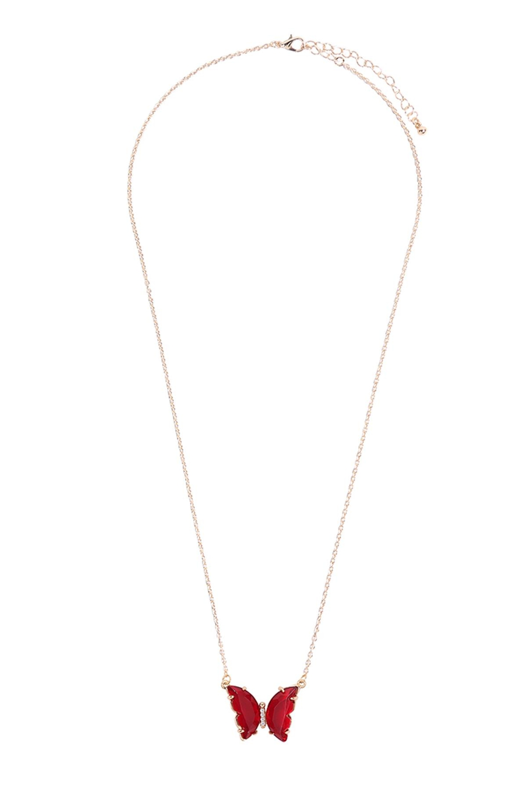 Riah Fashion Glass Butterfly Charm Necklace - Side Cropped Image